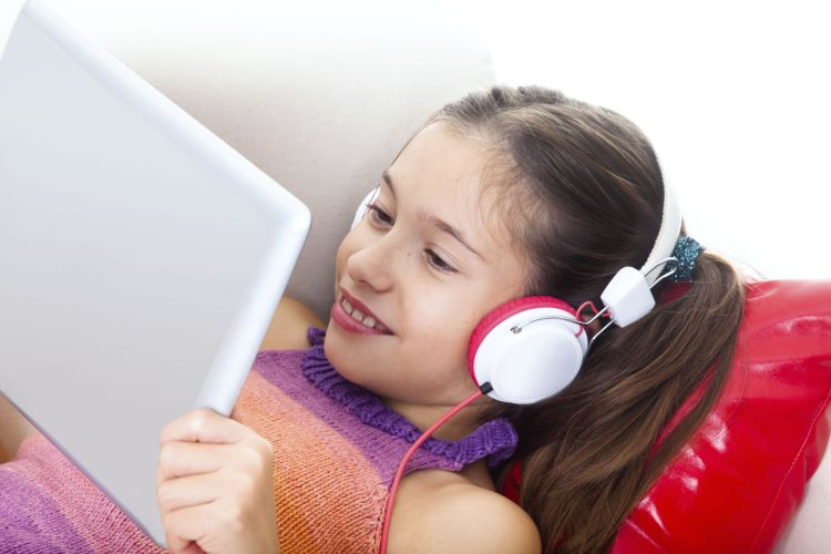 Reading reading interactive book with headphones