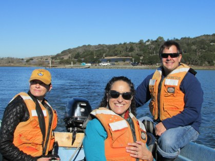 Photo of Sea Otter Heroes author Patricia Newman, Lilian Carswell, and Brent Hughes for Sea Otter Awareness Week