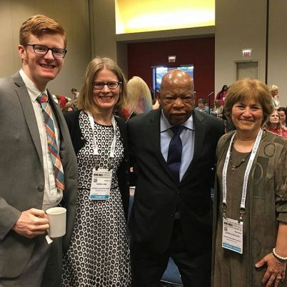 Carol Hinz with Leigh Walton, Congressman John Lewis, and Caren Stelson