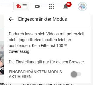 YouTube kindersicher machen mit dem Eingeschränkten Modus.