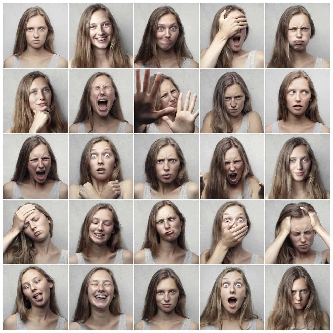 Gesichter von Prüfungsangst, collage photo of woman