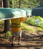 Moving the canoe.