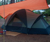 Our new tent - a Eureka Tetragon 1610.  16'x12', three rooms, three doors, and a sky light.  Very roomy.