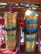 Two neat looking fire extinguishers on the wagon.