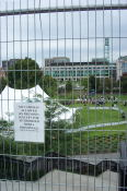 This is what greeted us at UrbanFest - a large 8 foot high fence that surrounded Confederation park. The notice says that no cameras are permitted. We didn't end up going - the fence was rather strange.