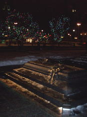 The Unknown Soldier bathed in the holiday lights.