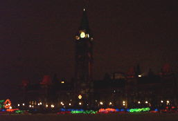 Parliament Hill all lit up.