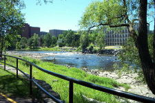 A view along the bike path on the east side of the Rideau river, across the river from Carleton University, June 2002.