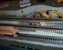 This O gauge set up was interesting with a construction site.