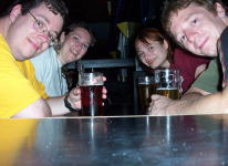 The four of us having a pint at Zaphod Beeblebrox's.