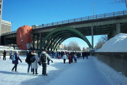 On the ice - we begin our journey down the canal.