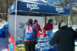 Kool-Aid?  In the winter?  Free samples of a new active-drink  were offered - flavoured blue-sugar-water, if you ask me.