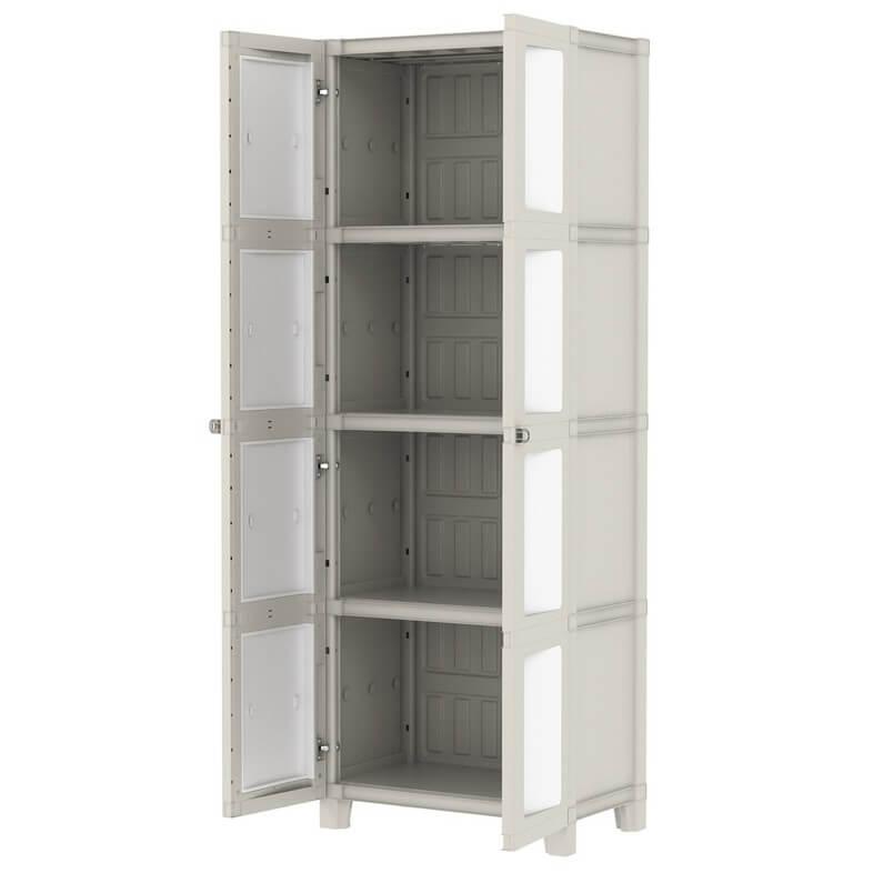 armoire haute resine 3 etageres l 65 x h 180 x p 41 cm garantie 2 ans