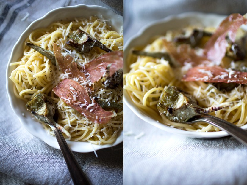 Spaghetti Artichauts Jambon Cru