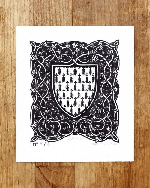 Blason « D'hermine plain » - estampe signée & numérotée