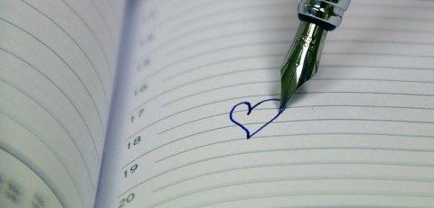 cœur sur cahier