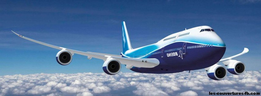 Boeing-747-800 - Photo de couverture journal Facebook