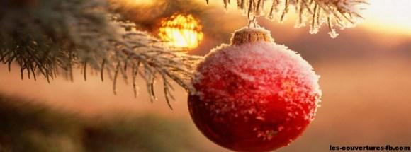 Boules sur sapin rouge- Photo de couverture journal Facebook