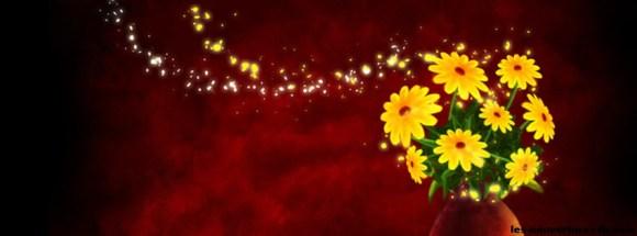 fleur fond rouge-photo de couverture journal facebook