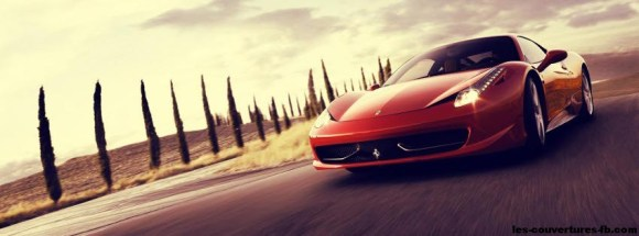 Belle Ferrari rouge -Photo de couverture journal Facebook