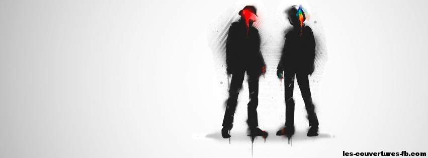 Daft Punk sur fond blanc Couverture Facebook