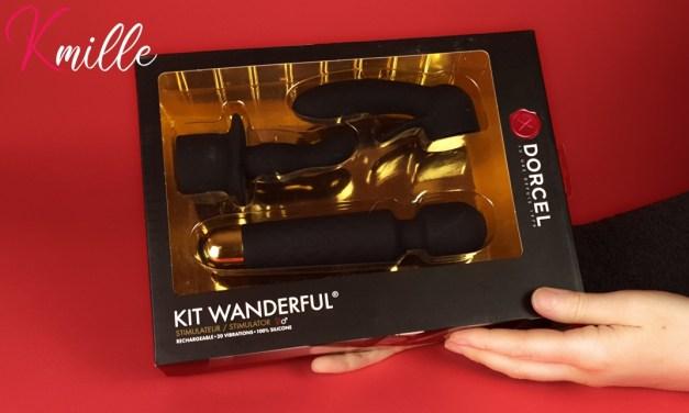 Le coffret vibromasseur externe Wanderful de Dorcel, avec accessoires.