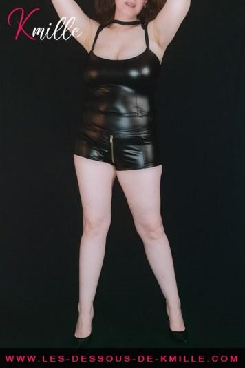 Kmille présente le Débardeur F203 effet wetlook, de Noir Handmade.