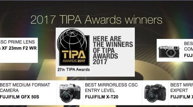 Fujifilm est récompensé au TIPA Awards 2017