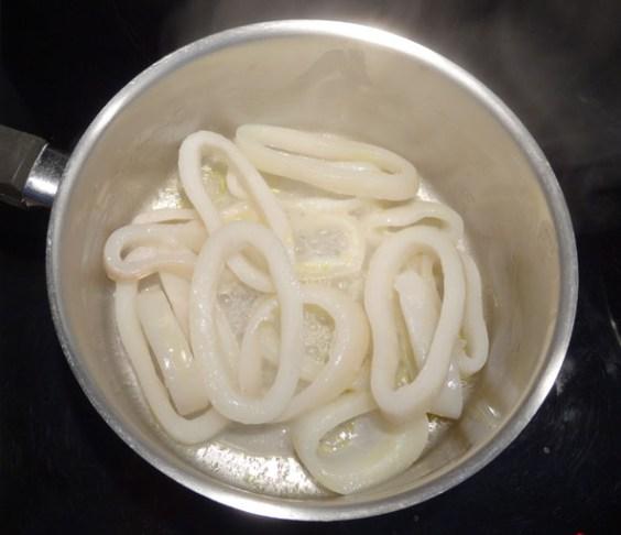 pré-cuisson des calamars
