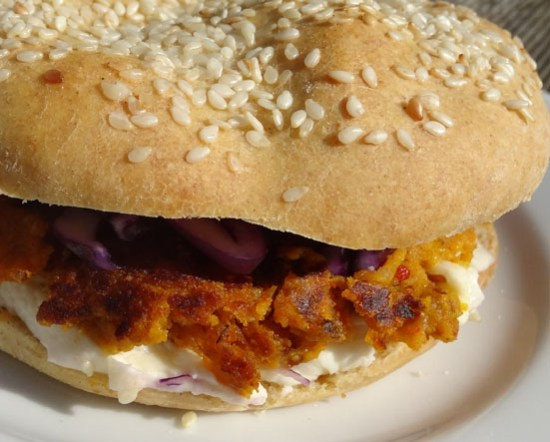 burger végétarien chou rouge potimarron marrons