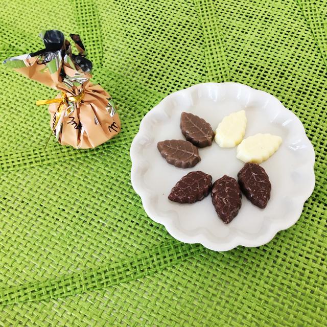 リーフメモリー,葉っぱのチョコ,橙の巾着,モンロワール,