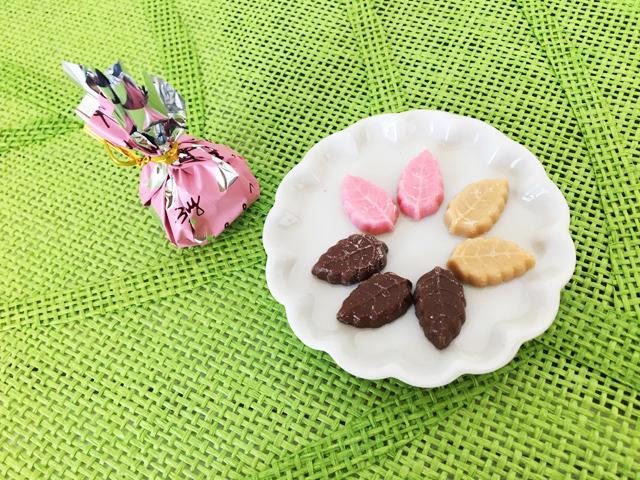 リーフメモリー,葉っぱのチョコ,桃の巾着,モンロワール,