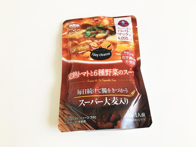 MCC,完熟トマトと6種野菜のスープのパウチの裏面,スーパー大麦入りスープ,