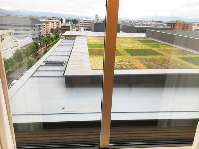 JWマリオット・ホテル奈良,デラックスルーム,窓からの景色,ホテルの隣のコンベンションセンターの屋上のグリーン,JW MARRIOTT NARA,