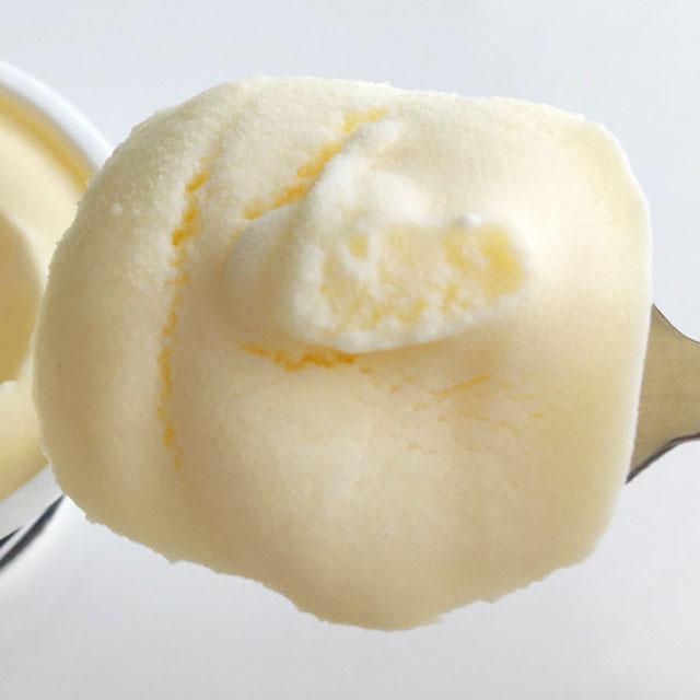 十勝ドルチェ,十勝白い牧場アイスクリーム,プレミアムバニラ,スプーンですくった状態