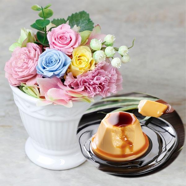 菊家,母の日ギフト,千趣会イイハナ,プリザーブドセット「KIKUYA 地卵はちみつぷりん」,母の日,2020,