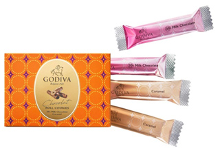 ゴディバ,バレンタイン,2020,ショコラロールクッキー,ミルク&ダークチョコレート,4本入,