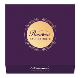 ラムーン,ラムーン・ザッハトルテ,4個入,紫色のボックス,中央にゴールドの丸の中に紫色の文字でRumoonと書かれたロゴが入っている,ラムレーズンスイーツ,Rumoon,SACHERTORTE,バレンタイン,2021,チョコレート,Valentine,chocolate,