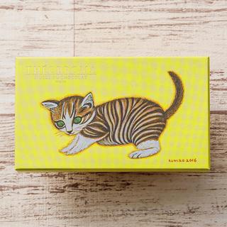 テオブロマ,ミュゼ・ドゥ・ショコラ テオブロマ,じゃり JAのパッケージ,黄色のBOXに猫のイラストが描かれている,サイズ:7.2×12.2×2.2cm,バレンタイン,2021,チョコレート,Theobroma,THÉOBROMA,Valentine,chocolate,