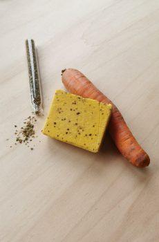 savons à la carotte, jus de carotte origan mandarine jaune