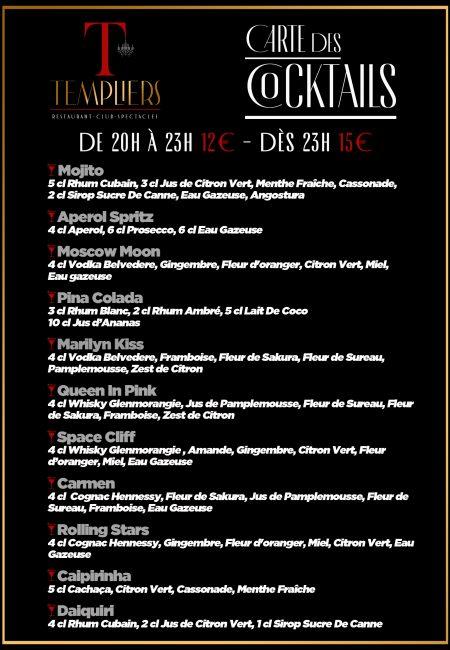 Carte Des Cocktails Templiers Octobre 2021