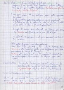 page d'écriture de ma fille