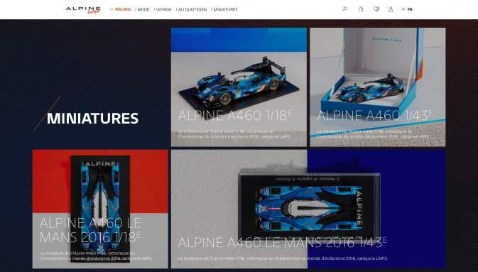 Boutique en ligne Alpine Cars Store Elegance Racing Signatech miniatures sacs bagages vêtements - 1