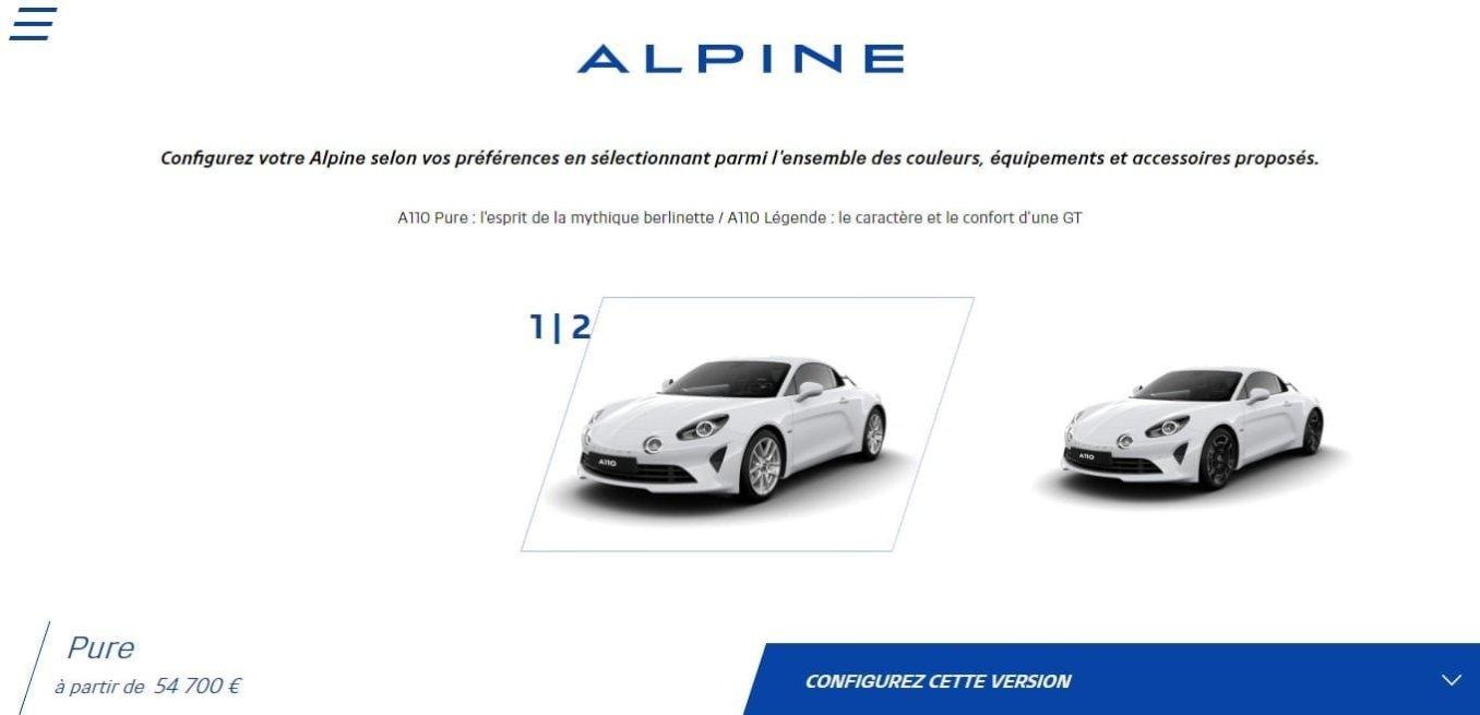 Alpine Cars Configurateur A110 Pure Légende Configurator 1   Alpine libère le configurateur de l'A110 Pure et Légende