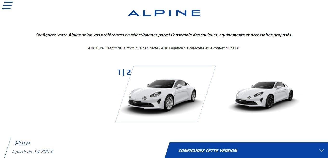 Alpine libère le configurateur de l'A110 Pure et Légende 1