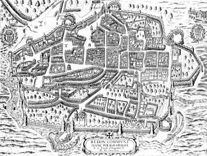 """Copie d'un plan de Rennes de 1616 tiré de """"Rennes"""", brochure touristique de 1969. Archives de Rennes, BP 243."""