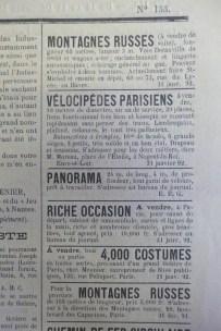 Petites annonces issues de l'Industriel forain, janvier 1892. Cliché Grégory Delauré, Archives de Rennes, I35.