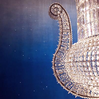 Ciel étoilé pour le décor du showroom Baccarat Paris