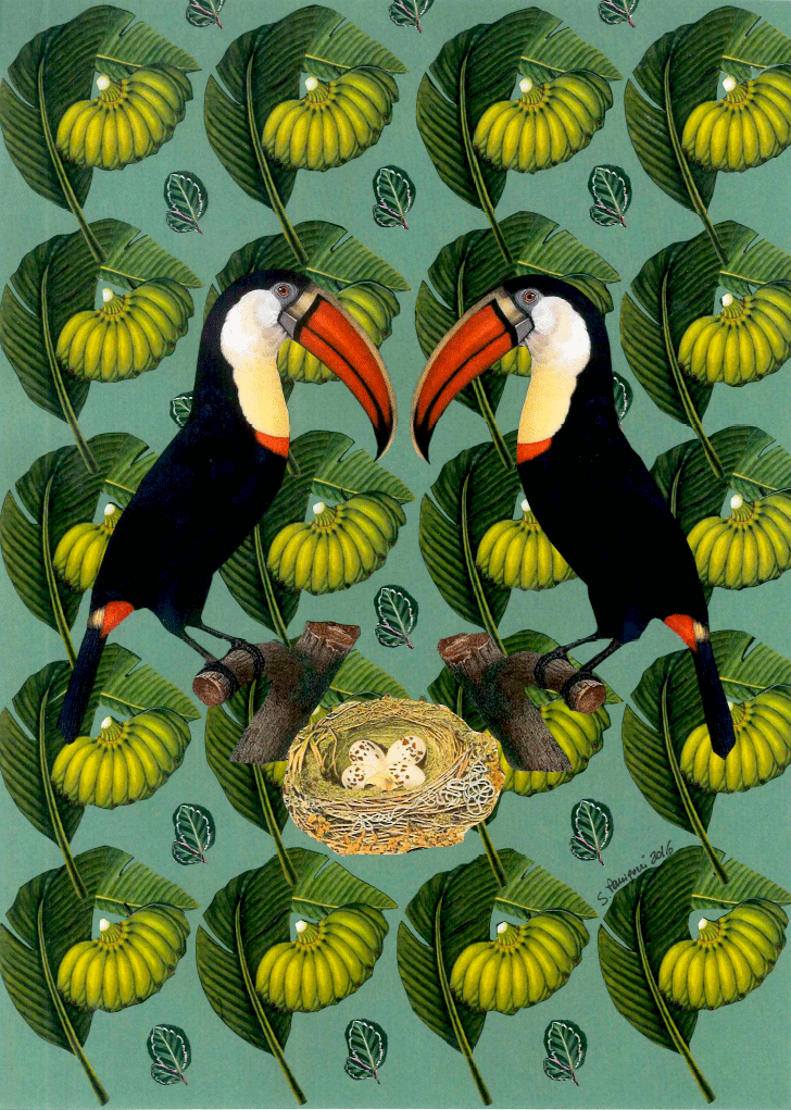 Paper collage with a couple of toucans protecting their nest in a forest of banana trees, 2016