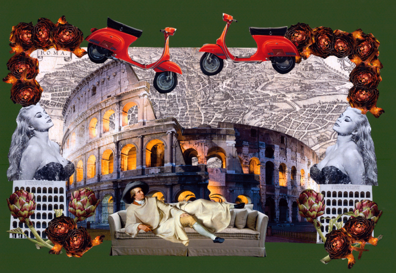 Paper collage with details celebrating Rome